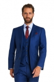 Moss Bros - Moss Bross 1851 Tailored Plain Blue 3 Piece Wedding Suit