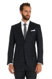 Moss Bros - Moss Bros 1851 Tailored Grey Windowpane Check Wedding Suit