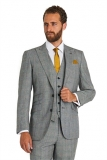 Moss Bros - Moss Bros 1851 Tailored Fit Black And White POW Check 3 Piece Wedding Suit