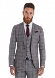 Moss Bros - Moss Bros London Slim Fit Red Check 3 Piece Wedding Suit