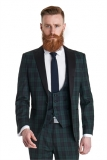 Moss Bros - Moss Bros - Ventuno 21 Slim Fit Green Tartan Dress Wedding Suit