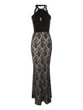 Jane Norman - Jane Norman Twist Neck Lace Maxi Dress
