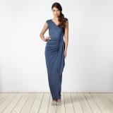 Debenhams - Debenhams Debut Blue ruched jersey maxi dress