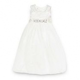 Debenhams - Designer girl's ivory diamante mesh bridesmaid dress