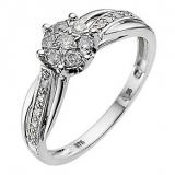 Ernest Jones - 9ct white gold quarter carat diamond flower ring