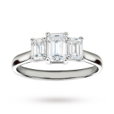 Goldsmiths - Platinum 1.50 Carat Diamond Three Stone Emerald Cut Ring