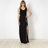 Debenhams - Lipsy - Lipsy VIP black embellished cowl split maxi dress