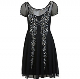 John Lewis - Miss Selfridge Embellished Skater Dress, Black<br />Online Exclusive