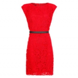 John Lewis - Mango Guipere Belted Dress, Bright Red