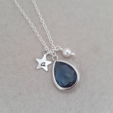 Zoe Hearts - Personalised Denim Blue Gem Necklace