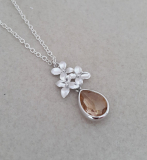 Zoe Hearts - Silver Trio of Flowers with Peach Glass Gem