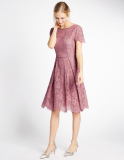 M&S Collection Short Sleeved Lace Skater Dress in Antique Rose