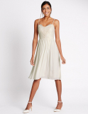Marks and Spencer Floral Lace Strap Swing Dress in Ivory