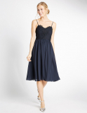 M&S Collection Floral Lace Strap Swing Dress in Navy
