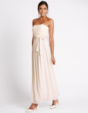 M&S Collection Strapless Pleated Maxi Dress with Belt in Ivory
