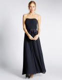 M&S Collection Strapless Pleated Maxi Dress with Belt in Navy
