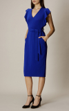 Karen Millen - FRILL WING DRESS - BLUE