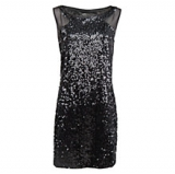 John Lewis - Mango Contrast Panel Sequin Dress, Black