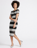 Floral Lace Short Sleeve Shift Midi Dress at M&S