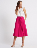 Cotton Rich Tie Detail A-Line Midi Skirt