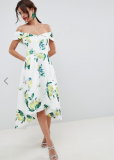 ASOS DESIGN Lemon Print Bardot Cold Shoulder Dip Back Midi
