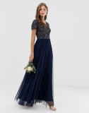 Maya Bridesmaid V Neck Maxi Tulle Dress with Tonal Delicate Sequins