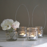 Not On The High Street .com - Small Heart Glass Hanging Tealight Holder