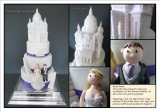 Sacre Coeur Wedding Cake - We specialise in truly personalised wedding cakes. In this cake the bride and grooms outfits are exact replicas of the real thing and the groom proposed on the steps of the Sacre Coeur. the final cake was 3.5 foot high