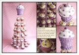 cupcake towers - Cupcake tower topped with a cutting cake designed to look like a giant cupcake. Lemon cakes with lemon buttercream.
