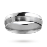 Goldsmiths - 5mm gents matte and polished ring in palladium