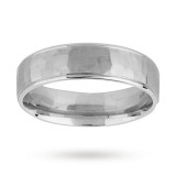 Goldsmiths - 6mm hammered gents ring in palladium 500