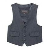 Debenhams - John Rocha - Boy's grey stitch four button waistcoat