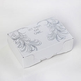 Confetti - SILVER AND WHITE FEATHER CAKE BOXES