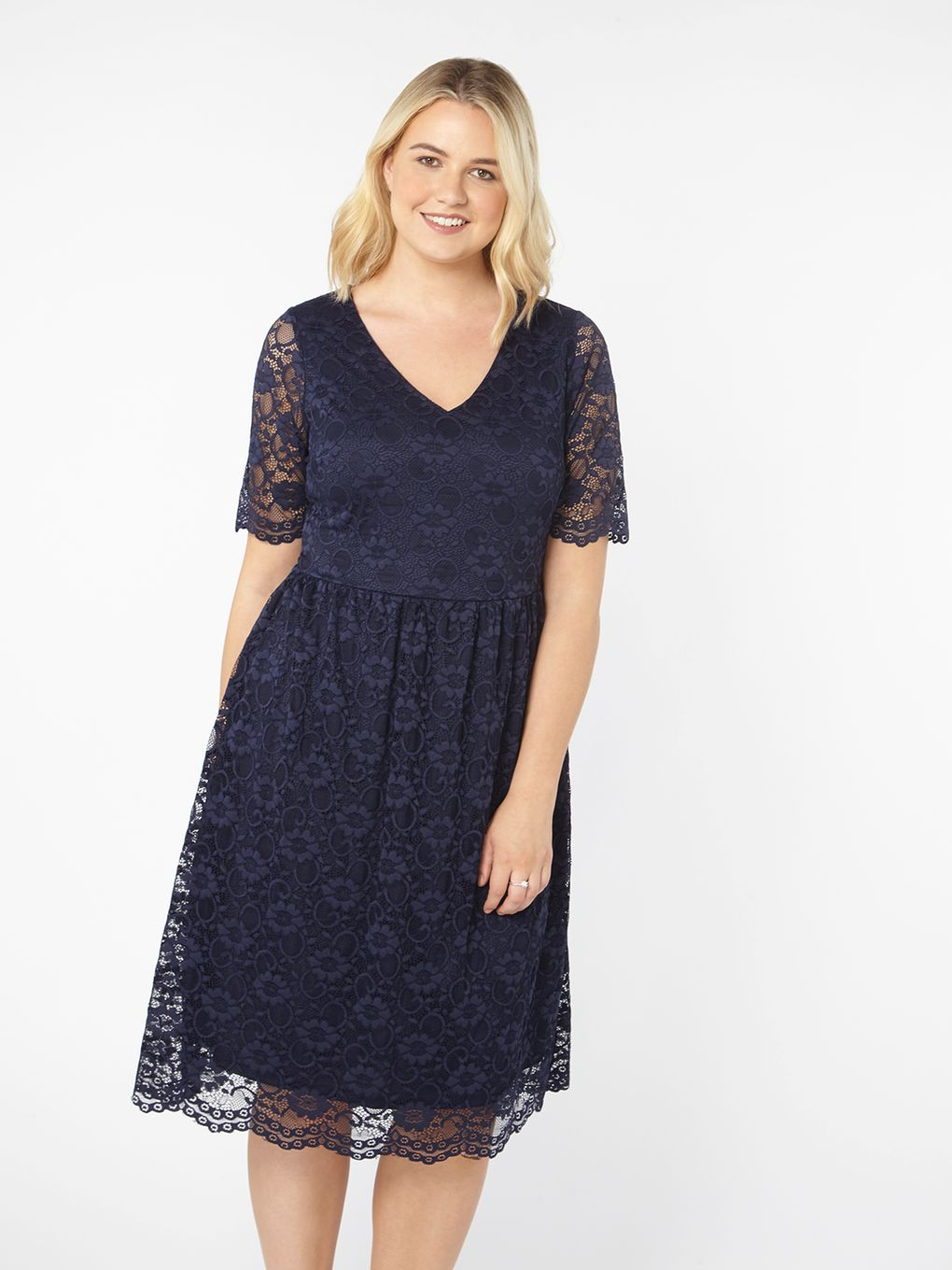 Navy Blue Lace Fit and Flare Dress From Evans