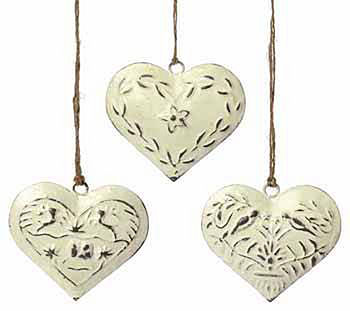 Notonthehighstreet.com Three Metal Hanging Hearts