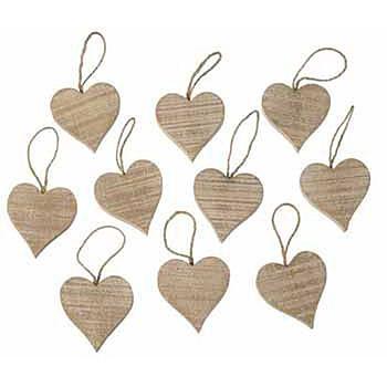 Ten Decorative Wooden Hanging Hearts