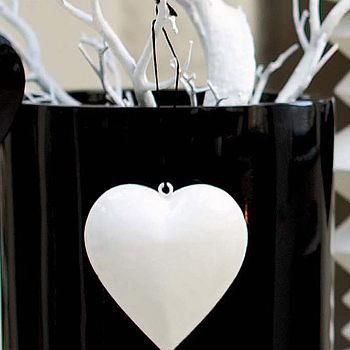 White Metal Hanging Heart